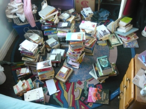 All my books in piles